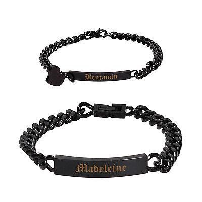 ID Edelstahl Armband Partnerarmbänder mit Gravur nach Wunsch Nr.3 in 4 Farben