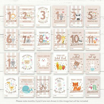 Baby Milestone Cards ~ 1st Year Memorable Moments Boy Girl Unisex Age 2