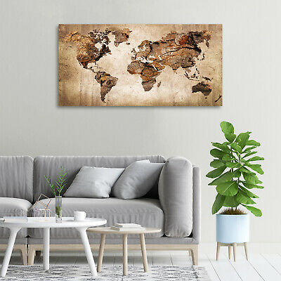 Leinwandbild Kunst-Druck 120x60 Bilder Landkarten Flaggen Weltkarte Holz