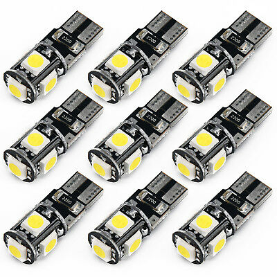 10x 6500k White Canbus Error Free Car T10 W5w 168 2825 Led5 Smd Wedge Light Bulb 2