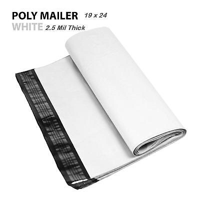 1~1000 Multi Pack 19x24 White Poly Mailers Shipping Envelopes Self Sealing Bags 3