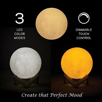 3D Printing Moon Lamp USB LED Night Lunar Light Moonlight Touch Color Changing 10