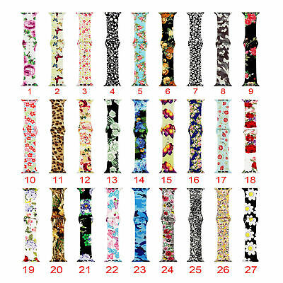 US Flower Floral Silicone Sport Band For Apple Watch Series 4 3 2 1 Wrist Strap 3