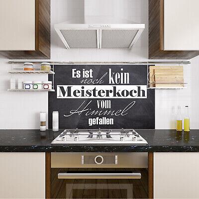 SPRITZSCHUTZ HERD KÜCHENRÜCKWAND Glas Küche Motiv Grau Stein Spruch lustig  Koch