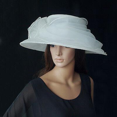Eleganter Damenhut In Ivory Weiß Organza Hut Brauthut Organzahut Hochzeit F5 Neu Damen-accessoires