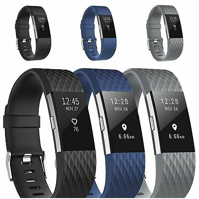 10 Pack Replacement Wristband For Fitbit Charge 2 Band Silicone Fitness Sport 3