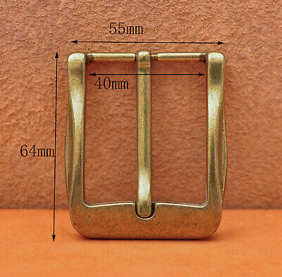 40mm Cool Solid Antique Brass Casual Men Single Pin Prong Leather Belt Buckle 2