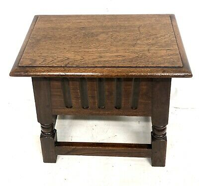 Antique Carved Oak Joint Stool Slipper Box / Occasional Table / Lamp Stand 2