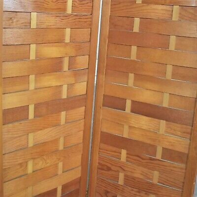 Mid Century Woven Wood Folding Screen 4 Panel Room Divider in Pine 10