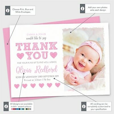 Personalised New Baby Thank You Cards Photo Birth Announcement Girl or Boy (G1) 2