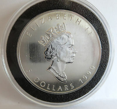 1990 Queen Elizabeth .9999 Fine Silver Vintage Canada Maple Leaf Coin 1 Troy Oz 2