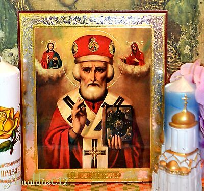 St.Nicholas the Wonderworker Russian Orthodox Icon Silver Gold double embossing 6