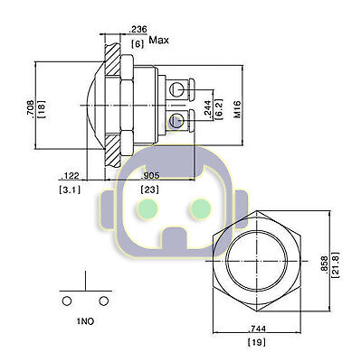 30 AMP METAL MOMENTARY WATERPROOF SWITCH 12V16mm 5/8 HORN STARTER NITROUS BUTTON 9