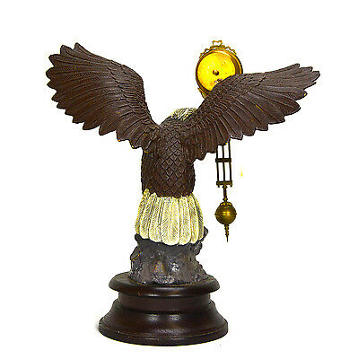 Large Brass American Eagle German Style 8 Day Swinger Movement Swinging Clock 3