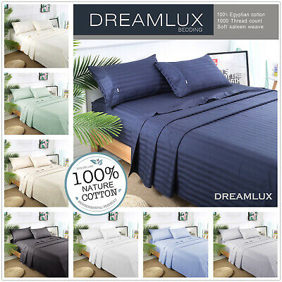 1000TC Egyptian Cotton Double,Queen or King Size Bed Sheet Set (Stripe).4 Pieces 2