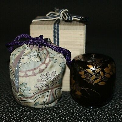 VTG Japanese wooden lacquer Gold makie Natsume tea caddy w/box from Japan b098 2