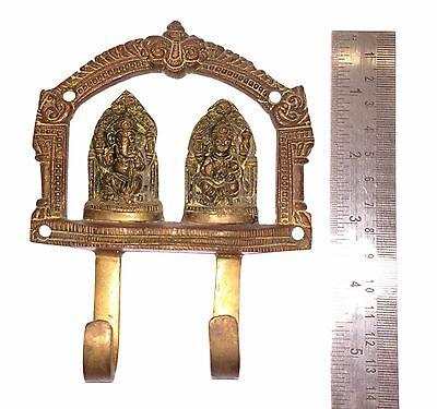 A Vintage Unique AUSPICIOUS Deities GANESHA LAKSHMI BRASS COAT HOOK KEY HANGER 2