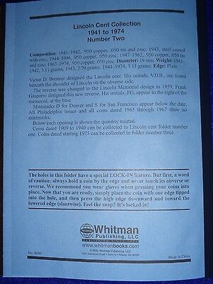 Whitman Lincoln Cent #1 & 2 1909-1974 Coin Folders, Albums Books 11