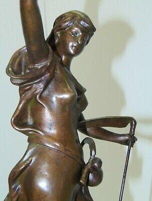 GARNITURE de CHEMINEE PENDULE ART NOUVEAU Sujet Régule patine Bronze AGRICULTURE 8
