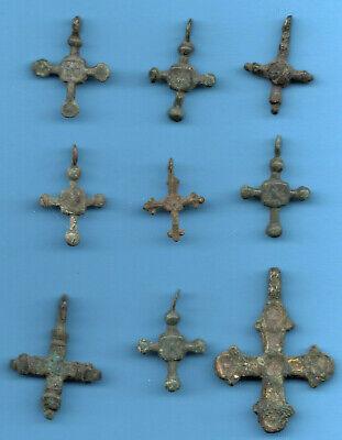 LOT OF 9 Ancient Viking Enamel Bronze Cross Kiev Russia ca 1100 Byzantine 3 2