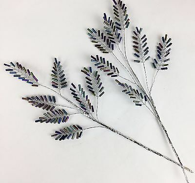 5 Silver Peacock Bead Leaf Sprays 21cm Cake Decorating, Weddings, Bouquets Craft