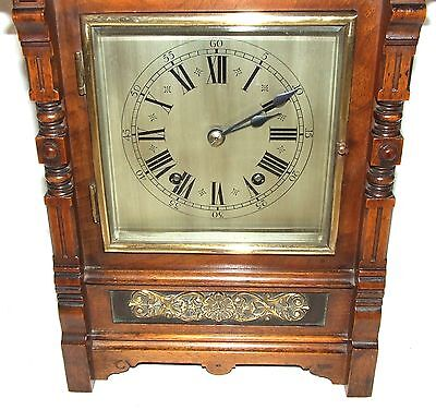 Antique Oak & Brass TING TANG Bracket Mantel Clock : CLEANED & SERVICED (a60) 7