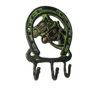 A Unique & beautiful brass Wall Hook 2 Horses & Horseshoe Design COAT HOOK 2