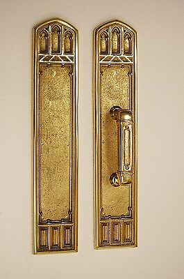 Solid Brass Architectural Door Hardware, Pull Plate Victorian Gothic