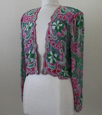Jasdee Vintage Beaded Bolero Jacket Hand Work Hand Print On Silk Style 3071 2