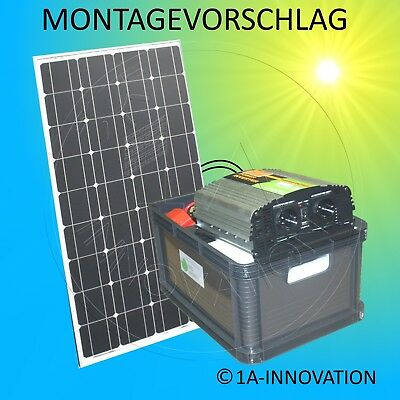 Komplette 220V Solaranlage 100Ah Akku 200W Solarmodul 1000W Steckdose 100W Paket 2