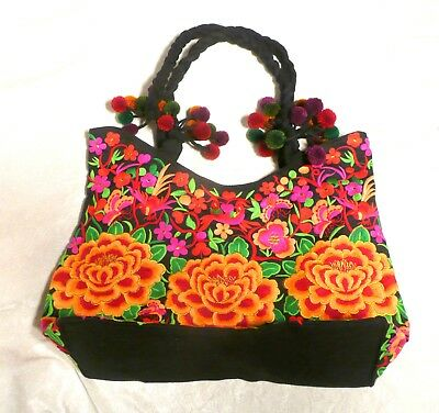 Hand Made Woman Flower Embroidery Ethnic Retro Large Shoulder Bag Purse ToteBag 2