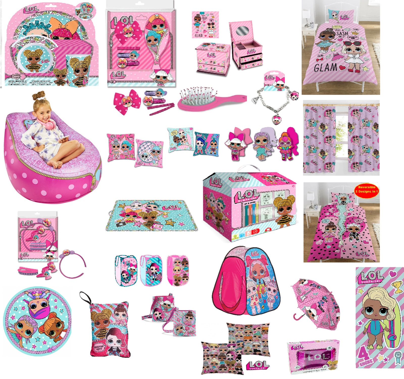 Children's Lol Surprise Pink Accessories Activity Dinner Party Gift Idea Bedding 3