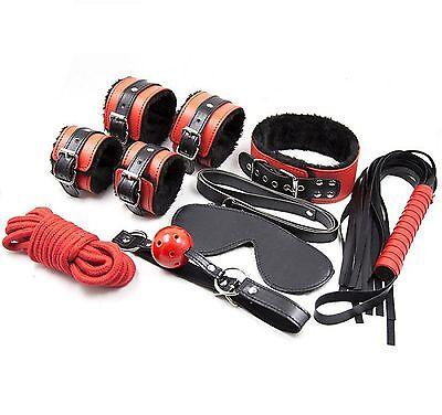 KIT SET toy 8p nero e rosso gag SEX POLSINI COLLARE + cb 6000 costrittivo pene 3