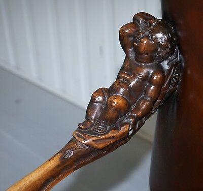 1850 Palatial Venetian Carved Walnut Leather Bench Valentino Panciera Besarel 8