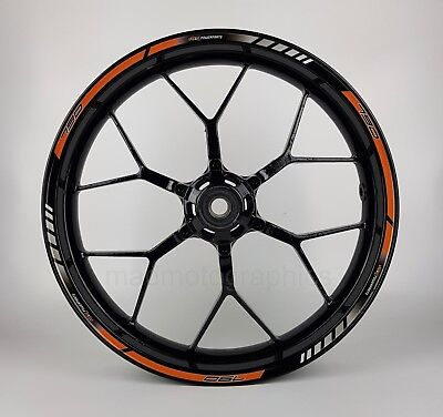 790 Duke motorcycle wheel decals rim stickers stripes laminated set orange 3