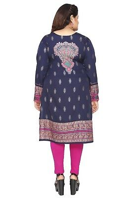 UK STOCK PLUS SIZE Women Indian Kurti Tunic Kurta Top Shirt Dress EPLUS106D