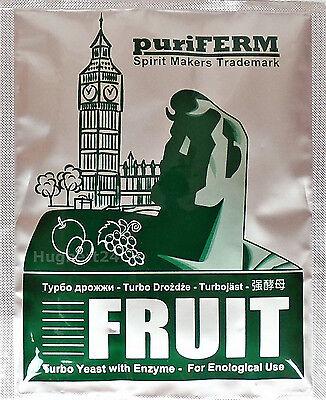 10 X Turbohefe puriFERM Fruit Obst Vodka Alkohol Gärhefe Hefe Schnaps + GRATIS 2