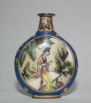 Alte handbemalte, keramische Schnupftabakflasche mit Japanmotiv - Snuff Bottle
