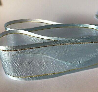 2-10m  Plain & With Gold Stripe Woven Edge Organza Sheer Chiffon Wedding Ribbon 9