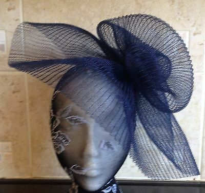 Navy dark blue fascinator millinery burlesque wedding hat hair ascot race bridal 3