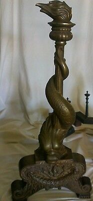 19c French Chenets Bronze Dolphin Sea Serpent Fluted Torch Finial Andirons