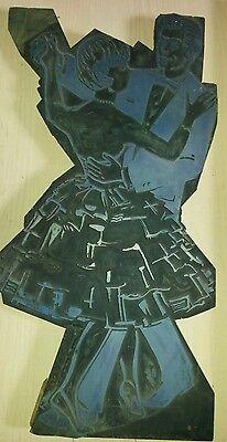 Klischee Druckplatte tanzendes Paar Maße 53x27x2,5 2
