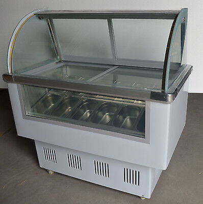 10 Of 12 Gelato Case 12 PAN Hard Ice Cream Dipping Cabinet Freezer Display  Cabinet 220V