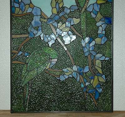 """20"""" x 34"""" Tiffany Style stained glass window panel 2 parrots birds 12"""
