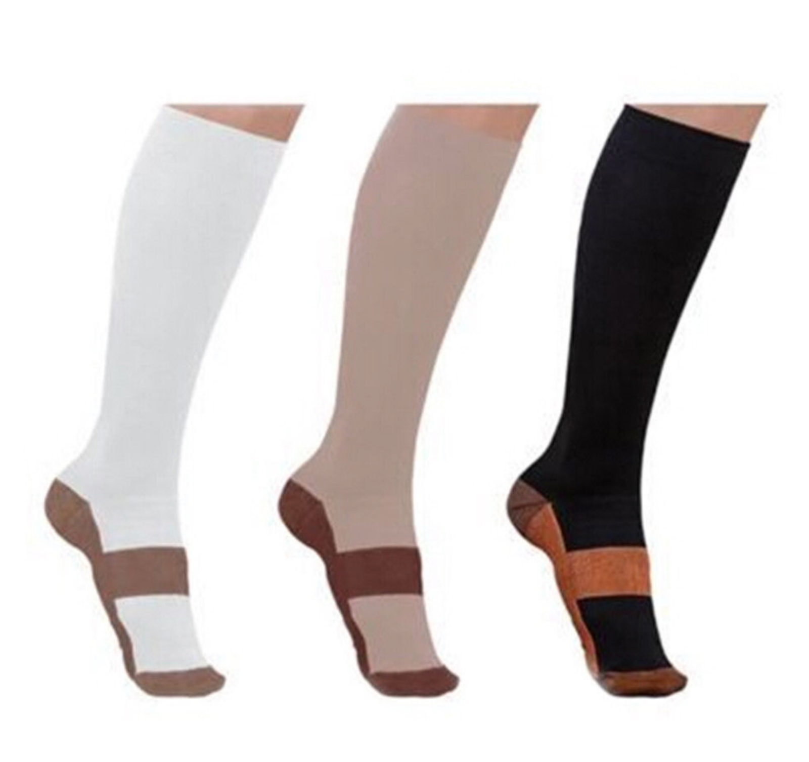 (5 Pairs) Copper Compression 20-30mmHg Graduated Support Socks Mens Womens S-XXL 6