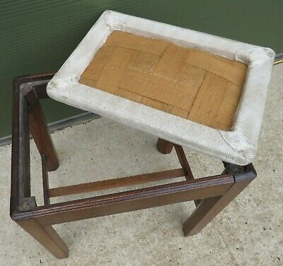 Antique Georgian Oak Footstool Stool with Upholstered Top 6