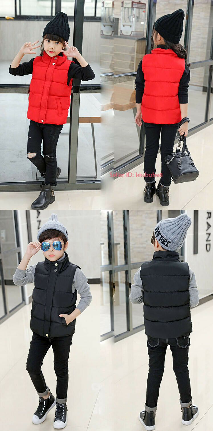 Kids Boys Girls Warm Cotton Down Vest Quilted Jacket Waistcoat Coats Snowsuits 4