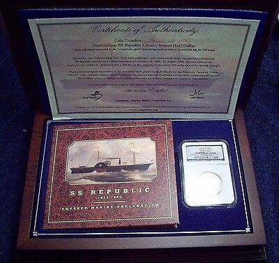 1858 O SILVER Half Dollar NGC SHIPWRECK EFFECT SS Republic WOOD CASE , DVD , COA 2