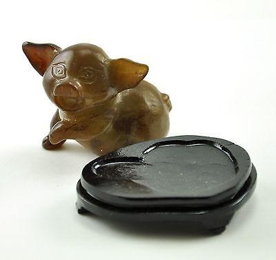 Vintage Pig Serpentine Jade Stone Hand Carved Carving Figurine wood stand