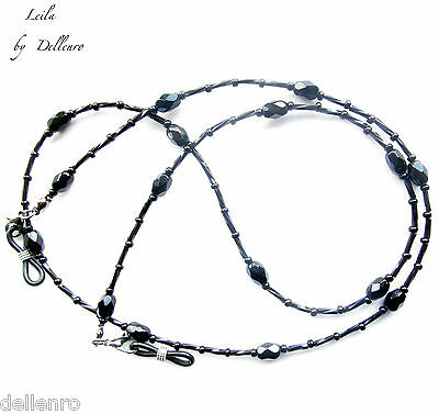 ✫Leila✫ Beaded Black Crystal Eyeglass Necklace  Spectacles Chain Holder 2